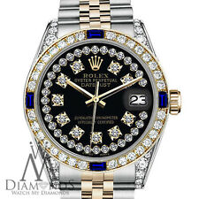 Women's Rolex 31mm Datejust 2Tone Black String Accent Dial Sapphire & Diamond