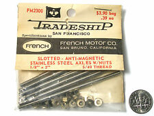 """10pc TRADESHIP Slot Car STAINLESS STEEL AXLE 1/8""""x3""""  5/40 Thread FM2300 French"""