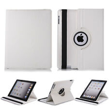 360 Rotating Leather Folio Stand Smart Case For iPad 2 3 & 4- White