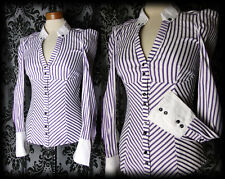 Goth Purple White Candy Stripe DEADLY Fitted Corset Panel Blouse 6 8 Victorian