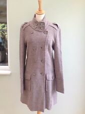 COATIGAN SIZE 6 WOOL 100%  MILITARY STYLE LAURA CLEMENT BOUCLE DEEP MINK  BNWT