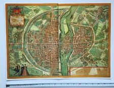 Colour map of paris, france: 1572 par braun & hogenberg réimpression biscayens