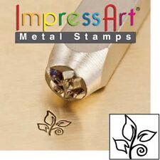Cachet en métal, punch, leaf swirl, 6mm