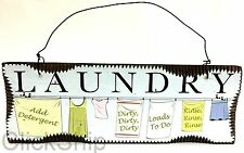 "Wooden Sign Hanging Decor 18cm Sky ""Laundry"" C-1002"