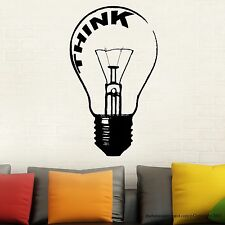 Light Bulb Think Wall Decal Stickers Decor Easy Decal Made in US