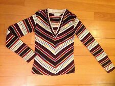 Rare Vintage 70s Disco Black Brown Rust Space Dye Chevron Stripe Sweater Xs/s