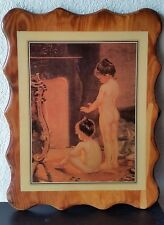 Rustic Vintage Nude Print Lacquered Wood Frame Little Girls by the Fire 17 x 13