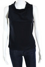 Prada Navy Blue Silk Sleeveless Solid Print Collared Blouse Size Italian 40