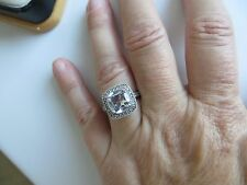 Vintage Cushion Cut Diamond Solitaire Halo Engagement Ring 14k White Gold size 7