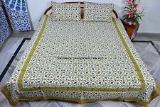 Queen Cotton Floral Style Coverlet Bed Spreads 3Pc Set- White/Green Indian Throw