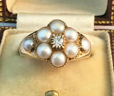 Antique Victorian 18ct, 18k, Gold European cut Diamond & Pearl Daisy ring  C1880