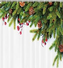 Christmas Tree Pine Cones Needles Holly Fabric SHOWER CURTAIN Holiday Bath Decor