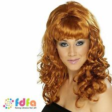 60s GLAMOUR AUBURN GINGER CURLY BEEHIVE BEAUTY WIG - ladies fancy dress costume