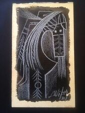 WIFREDO LAM, Mixed Media Signed, dated 70, with stamps on back