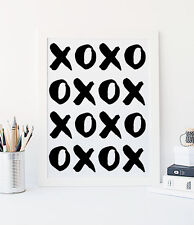 XOXO Love Art Print White and Black Wall Decor Contemporary Quote Modern 8x10