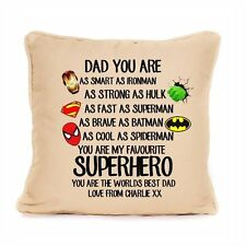 Personalised Cushion Fathers Day Gift Best Dad Large Luxury Superhero Daddy Home