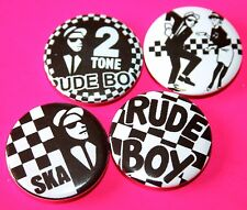 SET OF 4 SKA RUDE BOY TWO 2 TONE BUTTON PIN BADGES THE SPECIALS