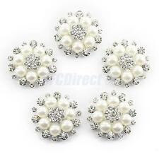 5 Silver Pearl Crystal Flower Flatback Button Brooch DIY Clothes Craft Decor