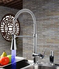 Deck Mounted LED Pull Down Kitchen Sink Mixer Water Tap Chrome Swivel Faucet