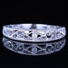 VINTAGE BAND SOLID 10K WHITE GOLD SI/H DIAMOND FILIGREE ENGRAVE ANTIQUE RING