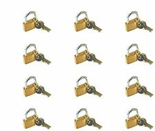 12 x BRASS PADLOCK 20,25,30mm HIGH QUALITY Travel Luggage Tool Security Lock