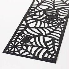 """SPIDER & WEB TABLE RUNNER ~ 13"""" x 54"""" ~ BLACK FELT HALLOWEEN TABLE RUNNER"""
