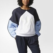 WOMEN ADIDAS HELSINKI TREFOIL CREWNECK SWEATER BLUE/WHITE [z]AB2746 Medium