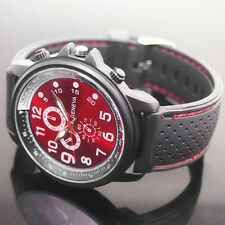 Men's Decent Cool Geneva Red Dial Black Silicone Band Quartz Analog Wrist Watch