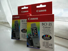 X2 Genuine Canon BCI-21 Colour Ink Cartridge Inkjet BJC-2000 4000 5000 C20 30 50