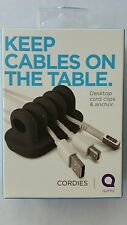 QUIRKY Cordies Keep Cables On The Table Desktop Cord Management Black New