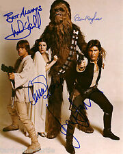 Star Wars Cast Autograph Reprint Harrison Ford Carrie Fisher Mark Hamill +1