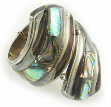 F. Balladares Sterling Cuff Bracelet, c.1930s Mexico, Abalone / M.O.P., Signed