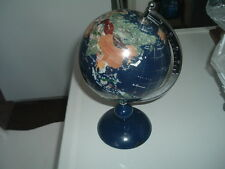 World Globe Tripod Stand Map Atlas Hand Crafted Gemstone Semi-Precious Jewels