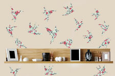 Floral Patterned Birds Pack of 16 Wall Art Vinyl Stickers Flying Transfer Decals