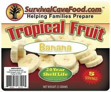 NEW Survival Cave Food- 5 Servings Fruit- Banana Freeze Dried Natural Snacks