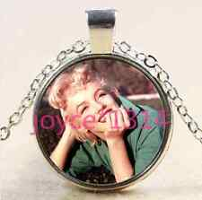Marilyn Monroe Cabochon Tibetan silver Glass Chain Pendant Necklace #2200