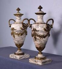 """19"""" XXL Antique French Louis XVI Gilt Bronze & Marble Urns/Vases with Snakes"""