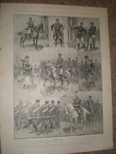 Army types Romania Bulgaria Serbia Montenegro 1903 old prints