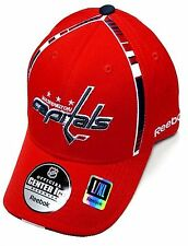 Washington Capitals NHL Reebok Red Center Ice Hat Cap Stripe Flex Fitted L/XL