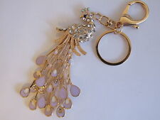HANDBAG BUCKLE CHARMS CLEAR CRYSTAL & PURPLE ENAMEL PEACOCK KEYRINGS KEY CHAIN