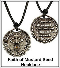 Man Boy Religious Jewelry Mustard Seed Necklace Scripture Coin