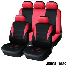 9 PCS FULL RED FABRIC CAR SEAT COVERS SET VW LUPO TIGUAN CADDY PASSAT BORA POLO