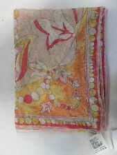 EMILIO PUCCI 100% silk pink, yellow, white floral embroidered scarf 70x26
