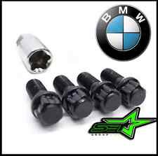 4pc 12x1.5 BMW BLACK STEEL WHEEL LUG BOLT LOCK SET WITH KEY | M3 M5 335 135