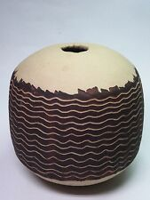 ROUND WEED POT VASE INCISED SGRAFFITO LINES MCM MAXWELL CRESSEY BITTERS STYLE