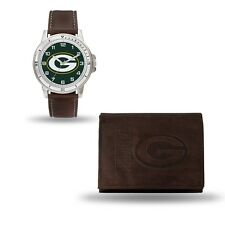 Green Bay Packers Watch and Wallet Gift Set - NFL Brown Leather Stainless Steel