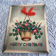 Vintage Greeting Card Christmas Holly Bulbs In Basket
