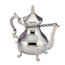 Luxury Chrome Silver Plated Brass Moroccan Teapot Coffee Kettles  6cc Serveware