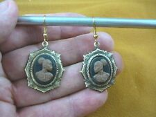 CAE1-12) RARE African American LADY brown + black CAMEO dangle Earrings JEWELRY