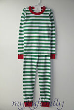 HANNA ANDERSSON Organic Long Johns Pajamas Green White Merry Stripe 150 12 NWT